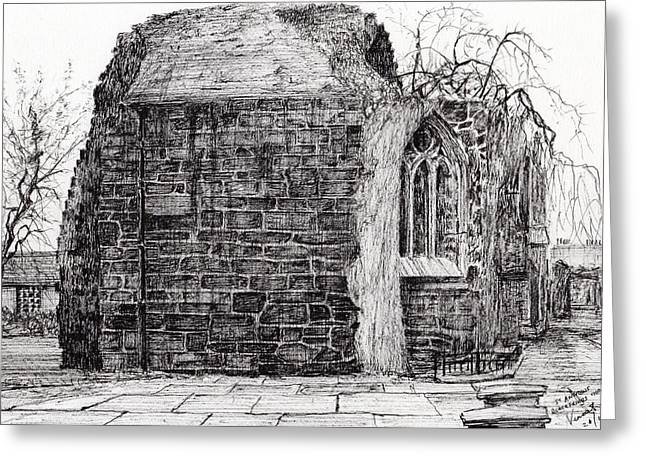 Historic Buildings Drawings Greeting Cards - Blackfriars Chapel St Andrews Greeting Card by Vincent Alexander Booth