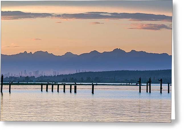Panoramic Ocean Greeting Cards - Blackie Spit Panorama Greeting Card by Michael Russell