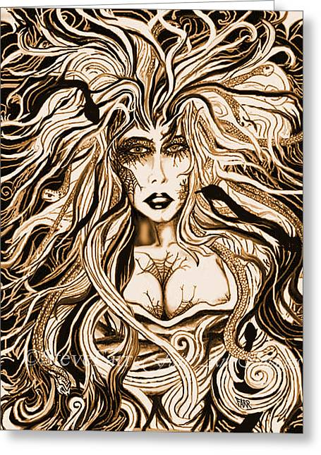 Medusa Mixed Media Greeting Cards - BlackMedusa-Sepia Greeting Card by Steve Farr