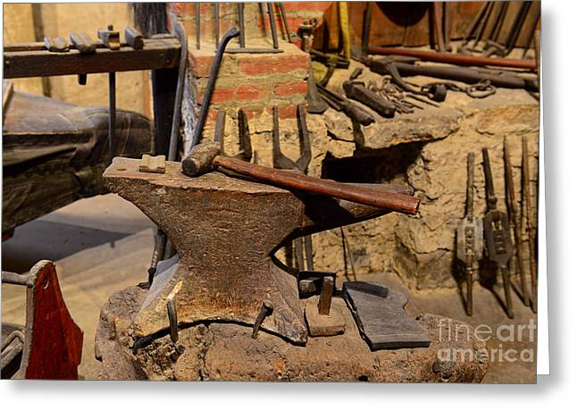 Smithy Greeting Cards - Blacksmith - Anvil and Hammer Greeting Card by Paul Ward