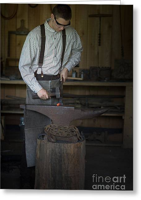 Blacksmith At Work Greeting Card by Liane Wright