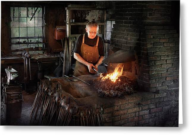 Blacksmith Greeting Cards - Blacksmith - Blacksmiths like it hot Greeting Card by Mike Savad