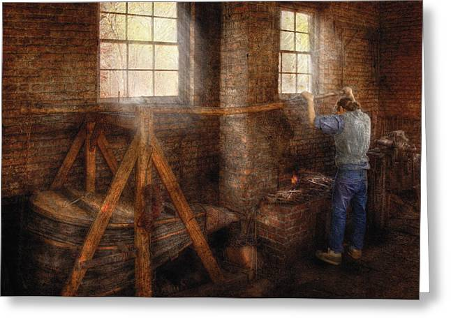 Smithy Greeting Cards - Blacksmith - Its getting hot in here Greeting Card by Mike Savad