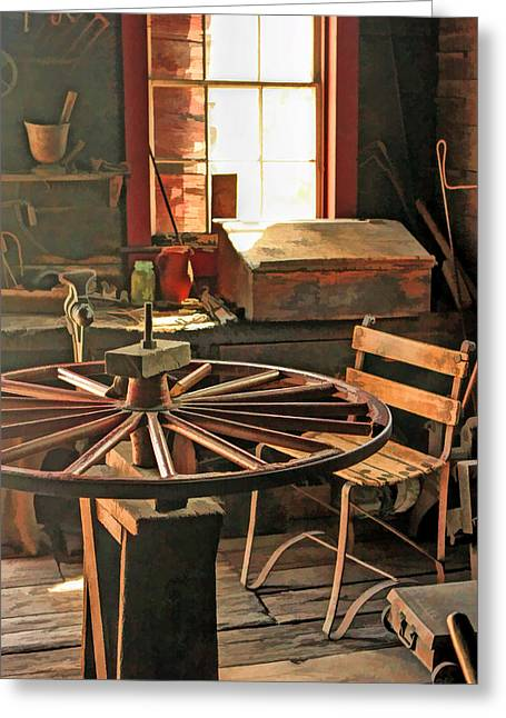 Bygone Greeting Cards - Blacksmith Shop Wheel Repair at Old World Wisconsin Greeting Card by Christopher Arndt