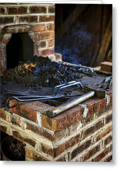 Preston Farm Greeting Cards - Blacksmith Workspace Greeting Card by Heather Applegate