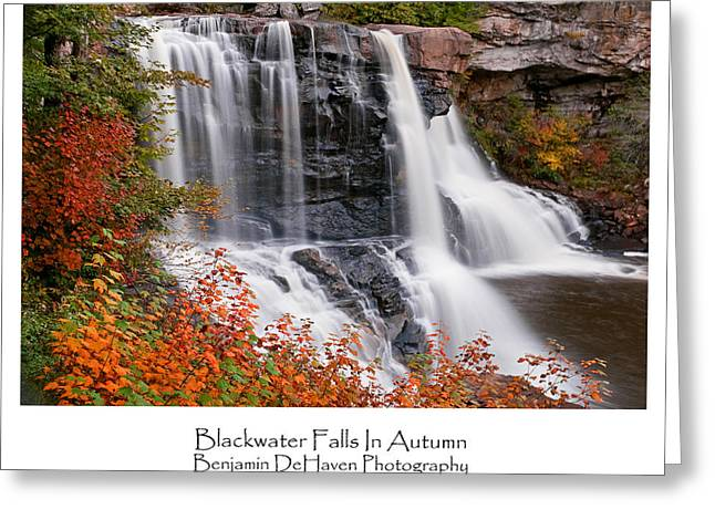 Exposure Greeting Cards - Blackwater Falls In Autumn Greeting Card by Benjamin DeHaven