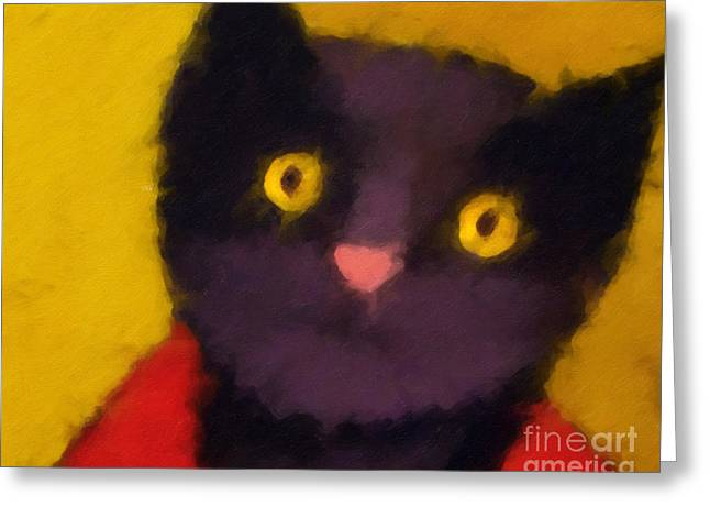 Abstract Cat Greeting Cards - Blacky Greeting Card by Lutz Baar