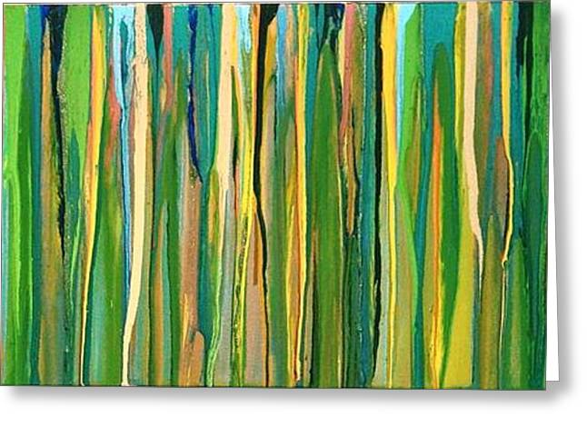 Gold Lime Green Greeting Cards - Blades of Grass Greeting Card by Ivy Stevens-Gupta