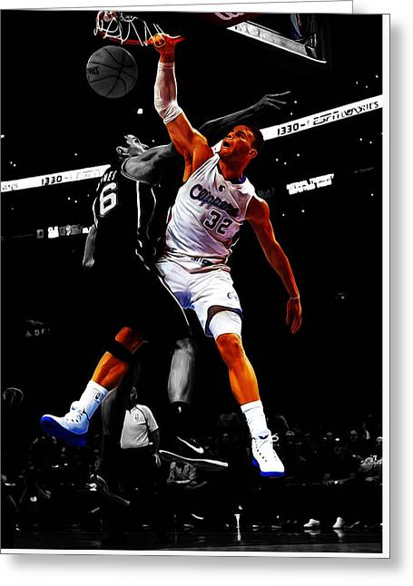 Slam Dunk Mixed Media Greeting Cards - Blake Griffen Greeting Card by Brian Reaves