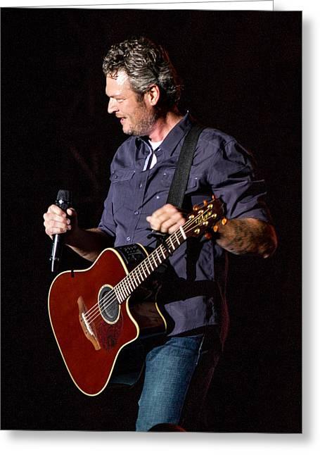 Shelton Greeting Cards - Blake Shelton Guitar 2 Greeting Card by Mike Burgquist