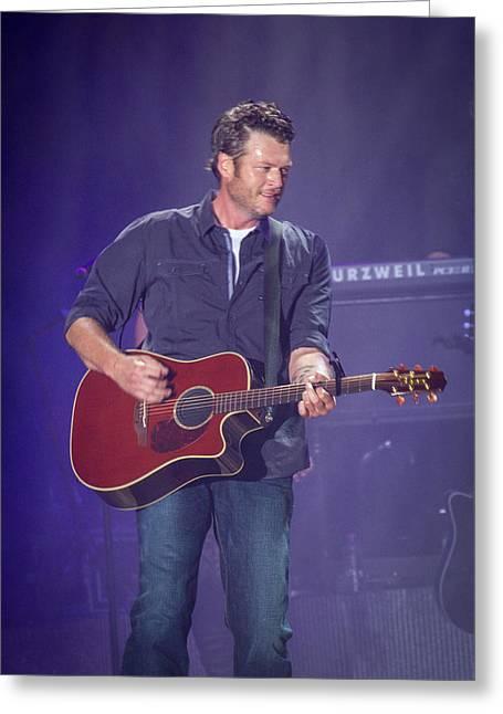 Shelton Greeting Cards - Blake Shelton Guitar 4 Greeting Card by Mike Burgquist