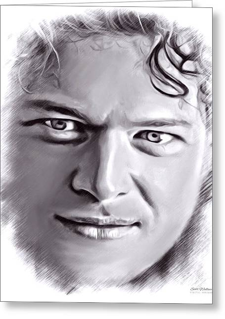 Label Greeting Cards - Blake Shelton Sketch Greeting Card by Scott Wallace