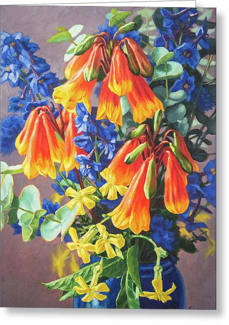 Blandfordia And Delphiniums  Greeting Card by Fiona Craig
