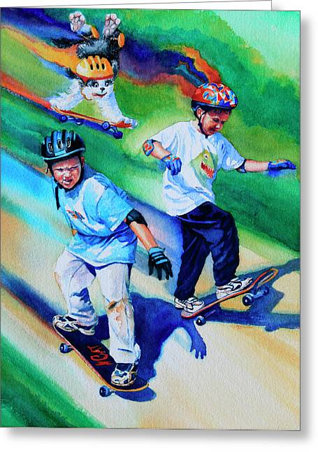 Skate Boarding Print Greeting Cards - Blasting Boarders Greeting Card by Hanne Lore Koehler