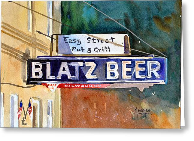 Cedarburg Greeting Cards - Blatz Beer Sign Greeting Card by Spencer Meagher