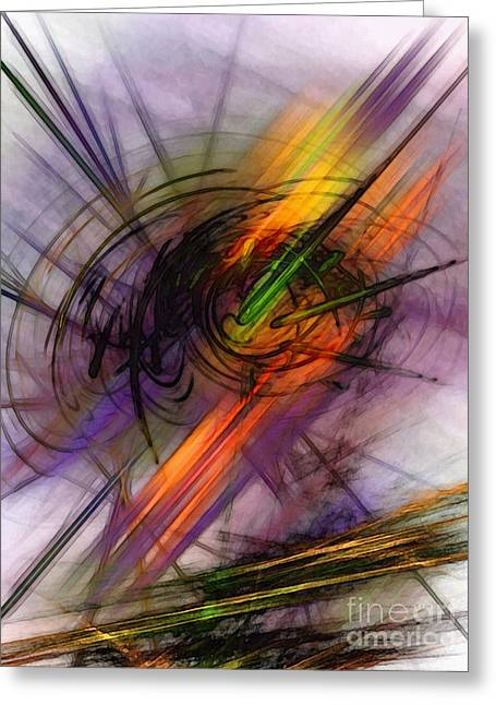 Blazing Abstract Art Greeting Card by Karin Kuhlmann