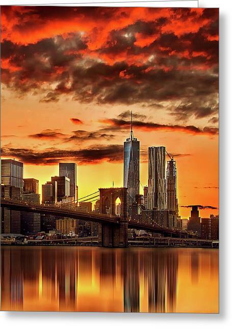 Blazing Manhattan Skyline Greeting Card by Az Jackson