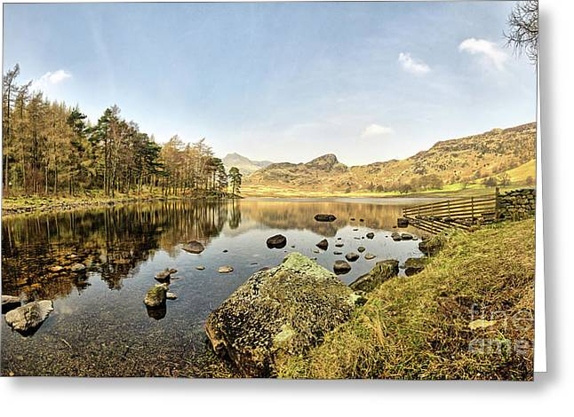 Blea Tarn Panorama Greeting Card by Stephen Smith