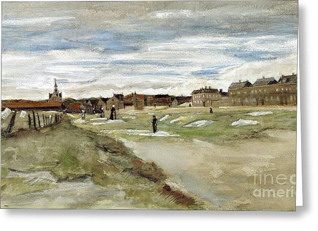 Vintage Painter Greeting Cards - Bleaching Ground at Scheveningen Greeting Card by Van Gogh