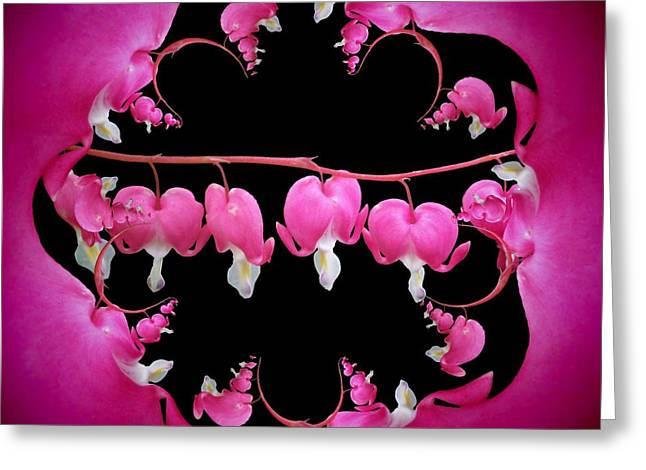 Abstract Digital Mixed Media Greeting Cards - Bleeding Heart 3 Greeting Card by Nancy Pauling