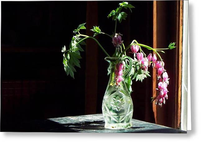 Glass Bottle Greeting Cards - Bleeding Heart Bouquet Greeting Card by Joy Nichols