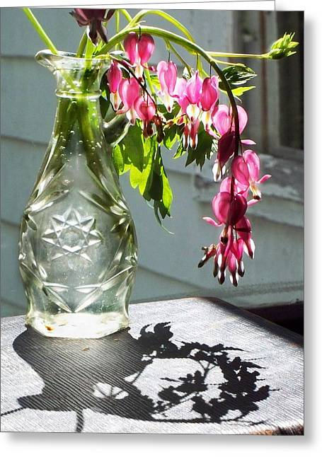 Glass Bottle Greeting Cards - Bleeding Hearts In A Vinegar Bottle Greeting Card by Joy Nichols