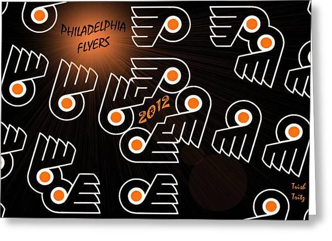 Bleeding Orange and Black - Flyers Greeting Card by Trish Tritz
