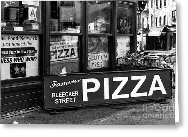 Bleeker Street Pizza Greeting Card by John Rizzuto