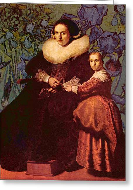 Woman And Owl Greeting Cards - Blend II Rembrandt Greeting Card by David Bridburg