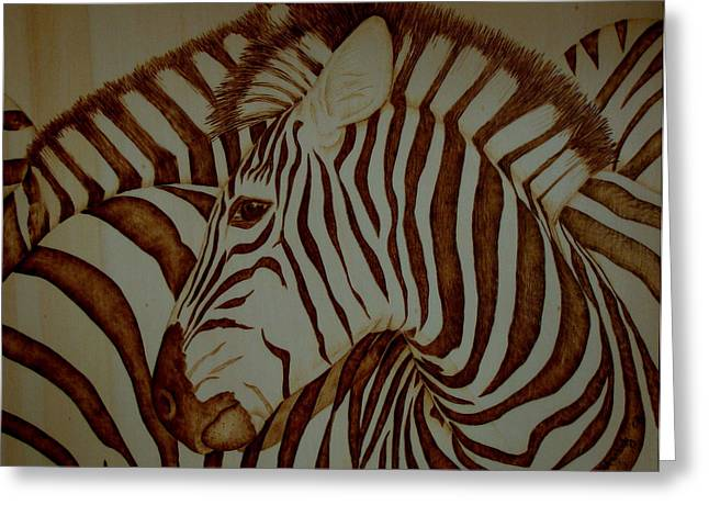 Striped Pyrography Greeting Cards - Blending In Greeting Card by Jo Schwartz