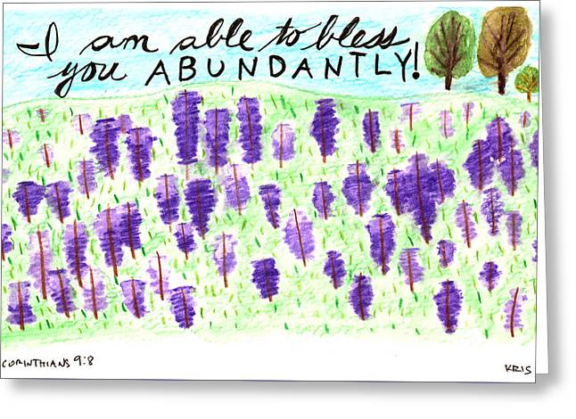 Devotional Mixed Media Greeting Cards - Blessed Abundantly Greeting Card by Kristen Williams