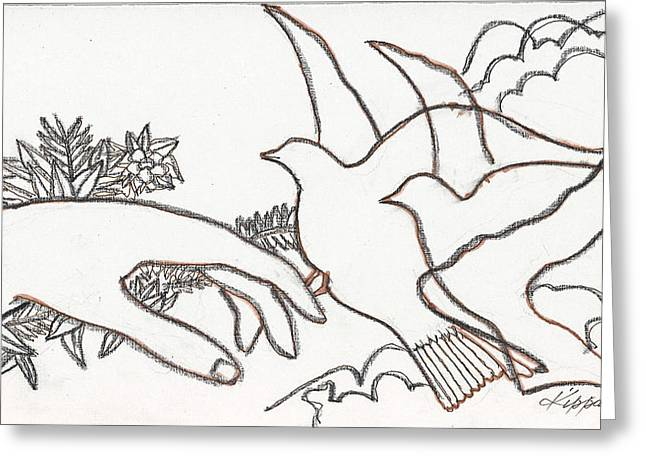Dove Pastels Greeting Cards - When Angels Came Greeting Card by Kippax Williams