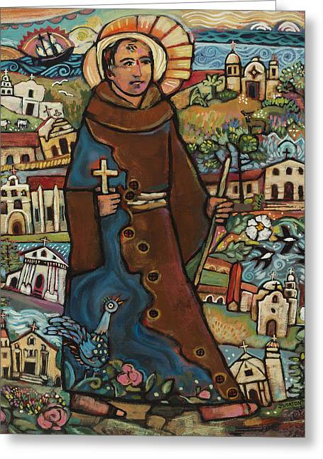 Carmel Greeting Cards - Blessed Junipero Serra Greeting Card by Jen Norton