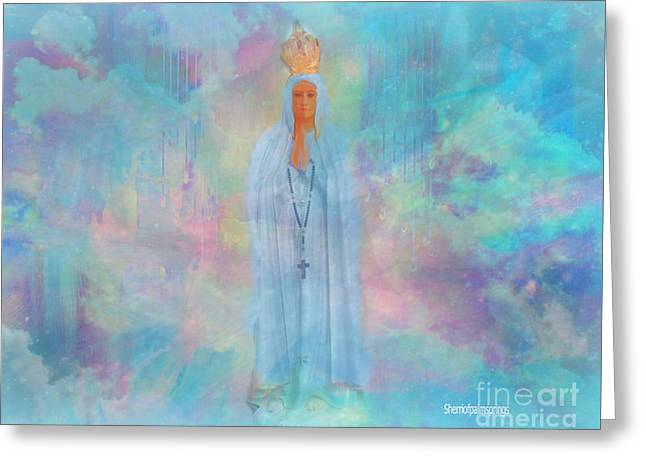 Sherri Painting Greeting Card featuring the digital art Blessed Mother Of Jesus by Sherri Of Palm Springs