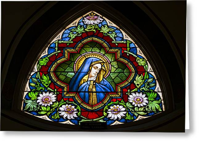 Blessed Virgin Mary Stained Glass Greeting Card by Stephen Stookey