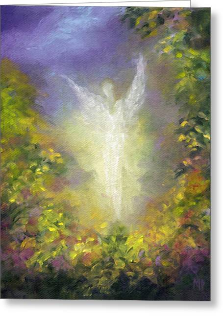 Angel work Paintings Greeting Cards - Blessing Angel Greeting Card by Marina Petro