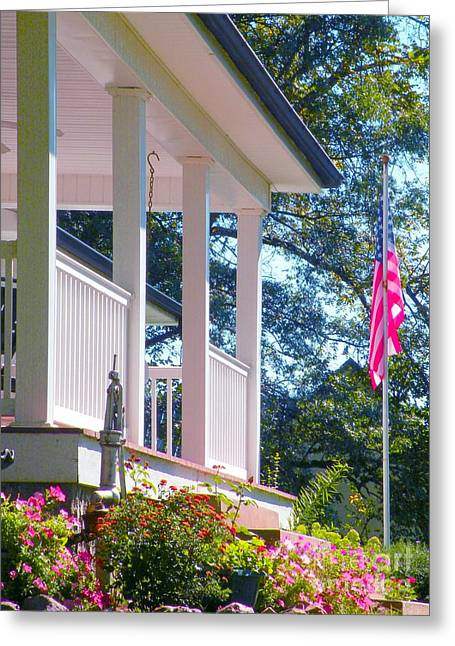 """front Porches"" Greeting Cards - Blessings on America Greeting Card by Christine Belt"