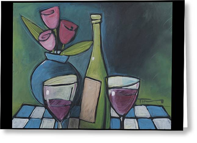 Table Wine Greeting Cards - Blind Date Wine And Flowers Greeting Card by Tim Nyberg