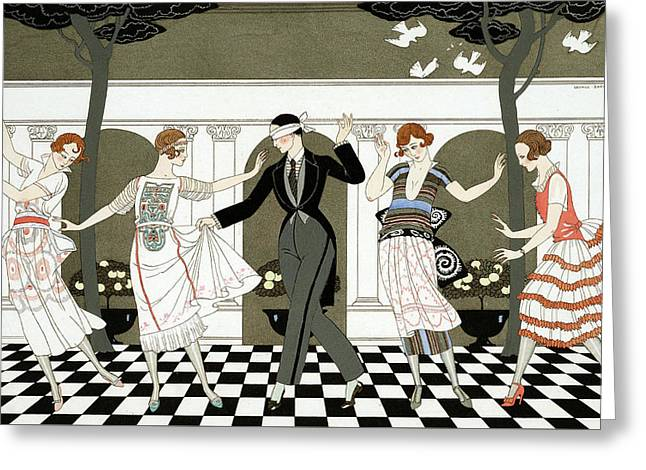 Blindfold Greeting Cards - Blind Mans Buff Greeting Card by Georges Barbier