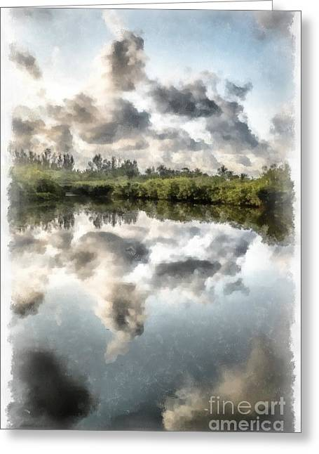 Blind Greeting Cards - Blind Pass Bayou Sanibel Island Florida Greeting Card by Edward Fielding