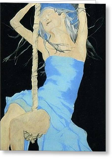 Angel Blues Pastels Greeting Cards - Blinded by the Starry Knight Greeting Card by Chrissa Arazny