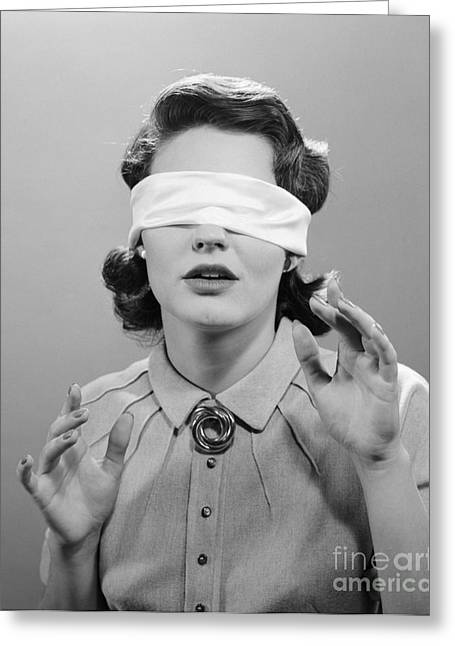 Blindfolded Woman, C.1950s Greeting Card by H. Armstrong Roberts/ClassicStock
