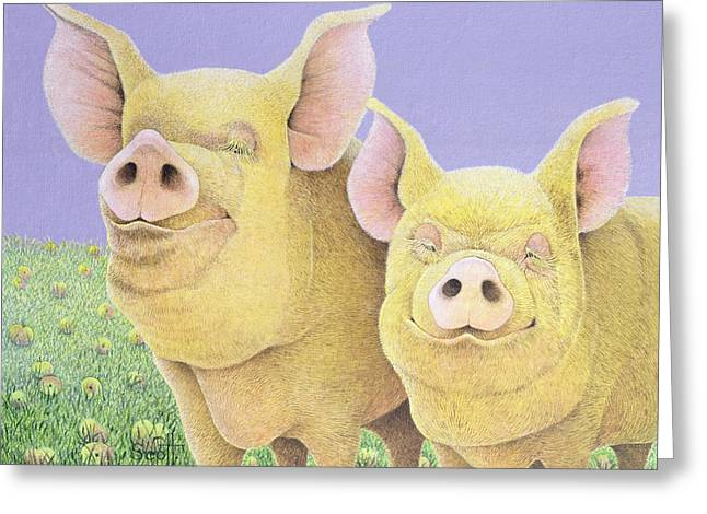 Pig Greeting Cards - Bliss Greeting Card by Pat Scott