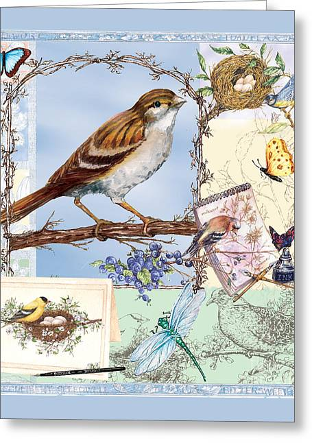 Sketchbook Greeting Cards - Blissful Birds in Blue Greeting Card by Sher Sester