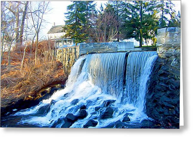 Brook Mixed Media Greeting Cards - Blissville Falls Greeting Card by Sue  Brehant