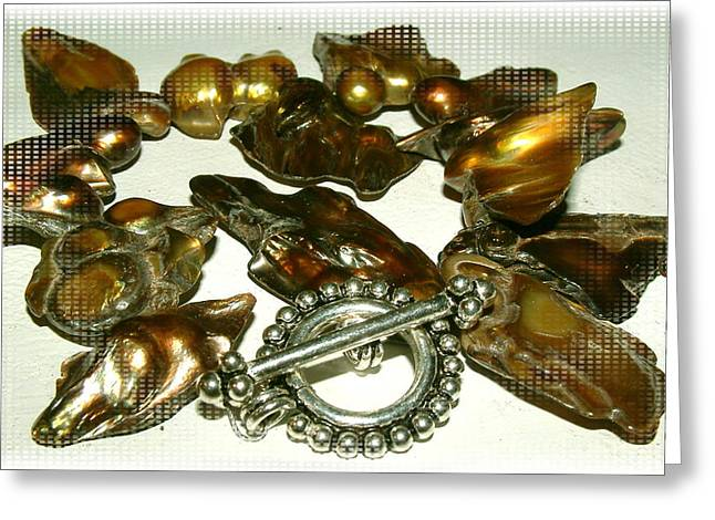 Sterling Silver Bracelet Jewelry Greeting Cards - Blister Pearls in Bronze Greeting Card by Donna  Phitides