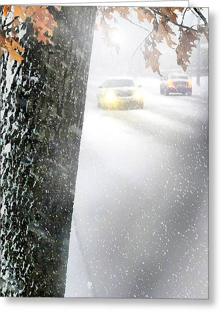 Blizzard Scenes Greeting Cards - Blizzard Forcast Greeting Card by Diana Angstadt