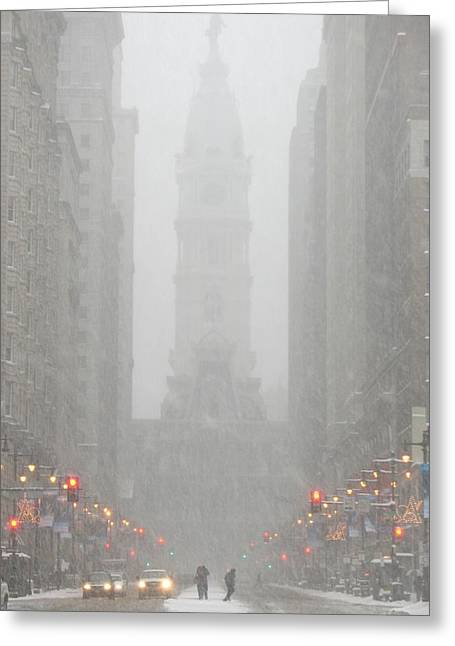 Snowstorm Posters Greeting Cards - Snow in the City Greeting Card by Christopher Woods