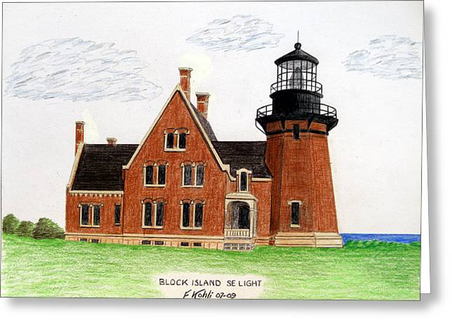 Historic Buildings Images Drawings Greeting Cards - Block Island SE Lighthouse Greeting Card by Frederic Kohli