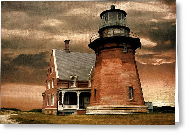 New England Lights Greeting Cards - Block Island Southeast Light Greeting Card by Lourry Legarde